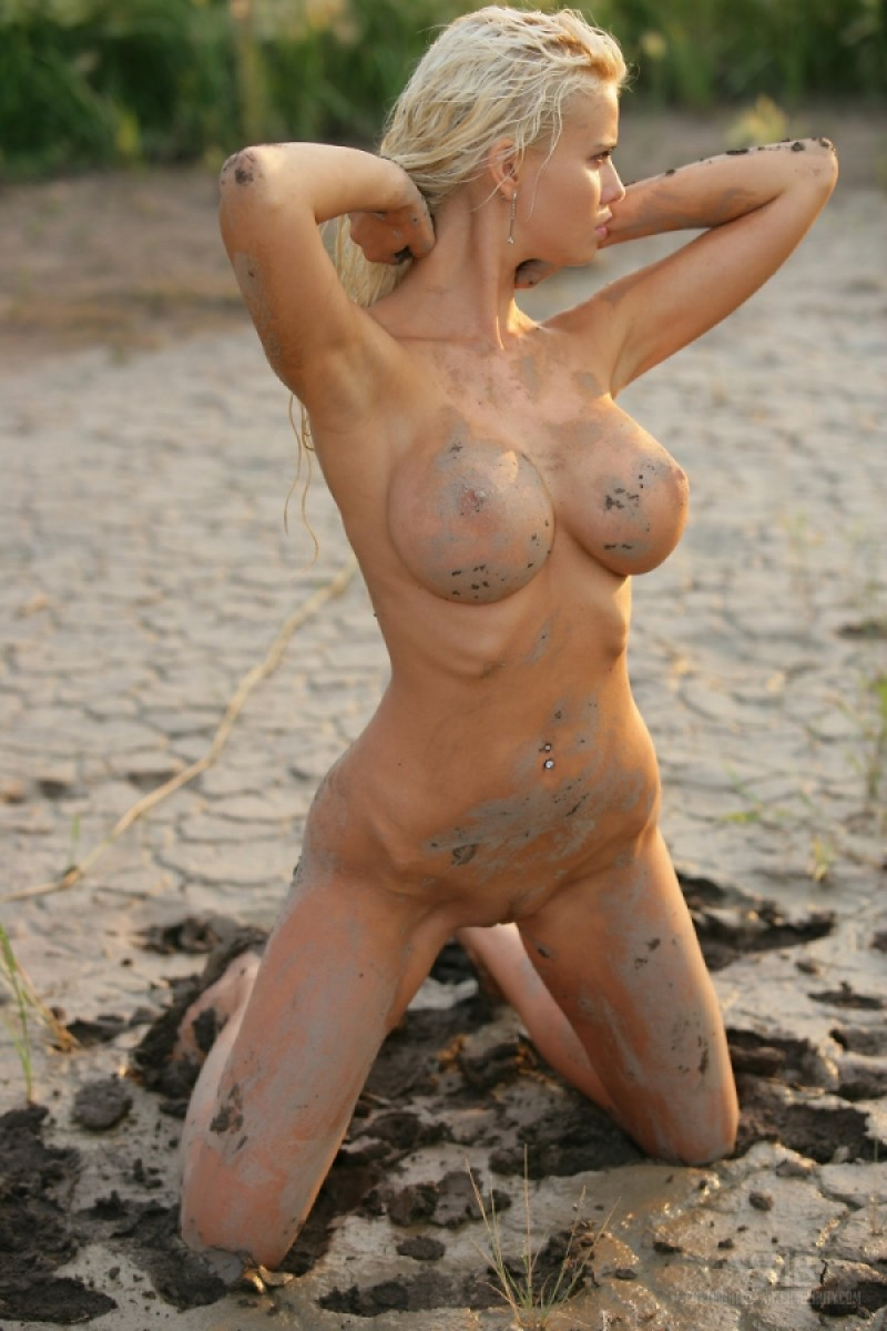 Busty Nude Blonde In The Mud-6857
