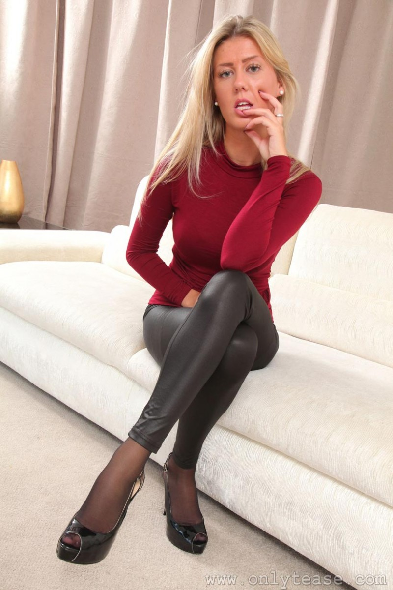Blonde In Black Leggings-5339