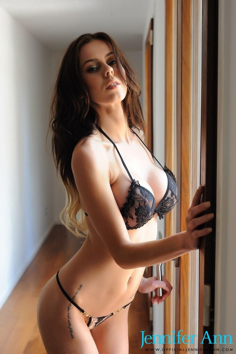Jennifer Ann Skimpy Black Bikini-4159
