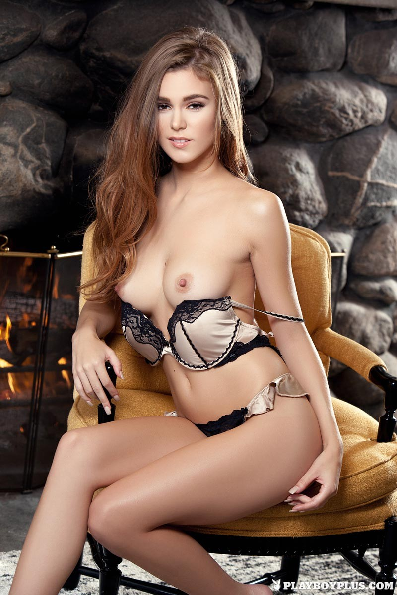 Playboy Model Strips By The Fireplace-8379