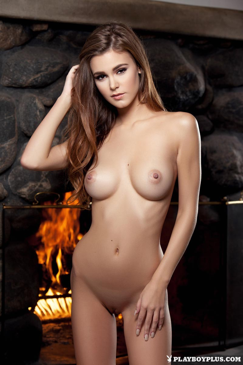 Playboy Model Strips By The Fireplace-8224