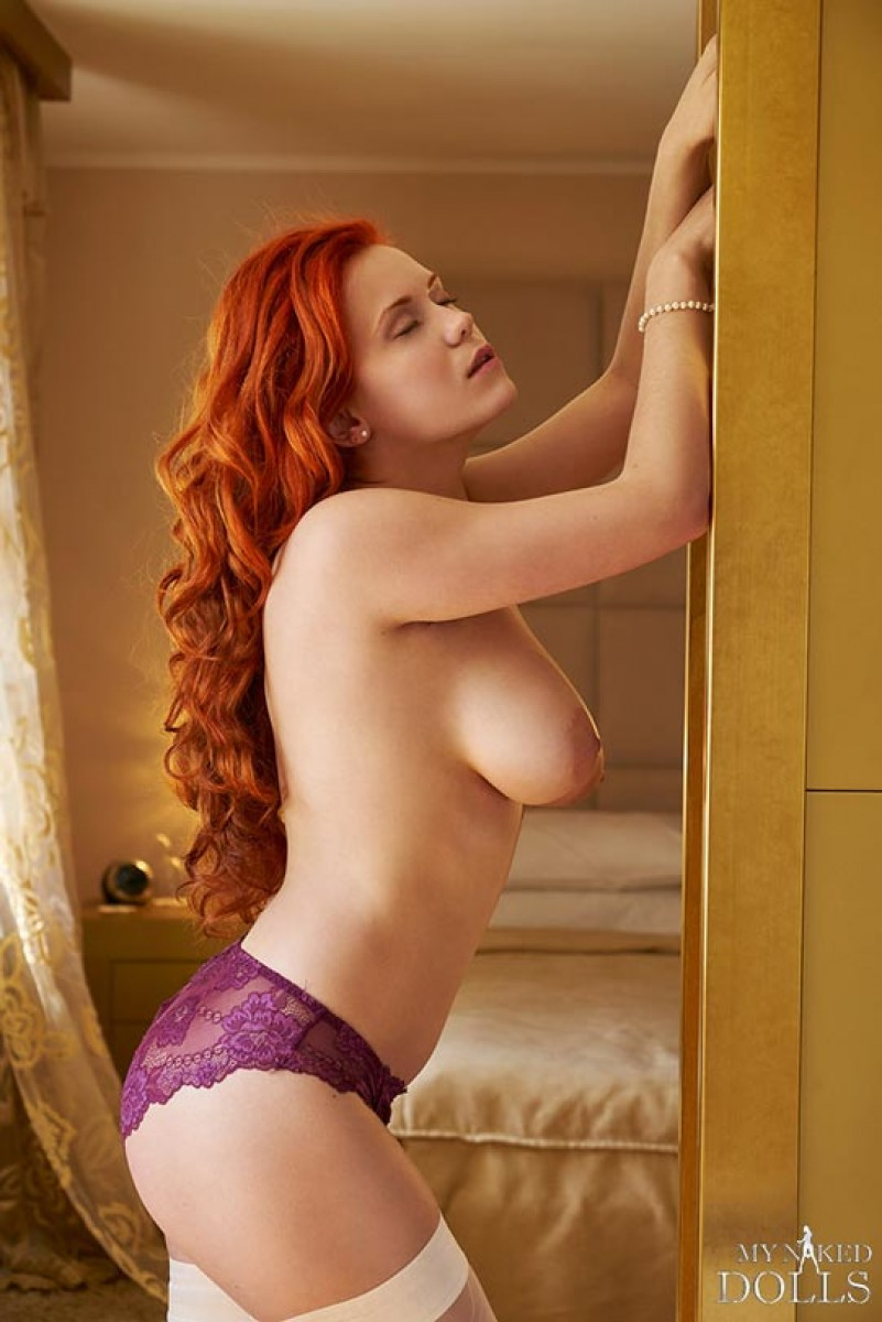 Curvy Redhead Wearing White Stockings-9477