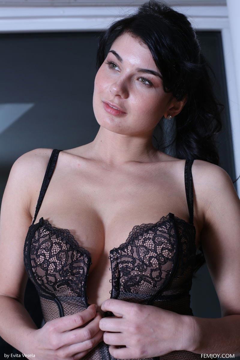 lucy li in a sexy black corset