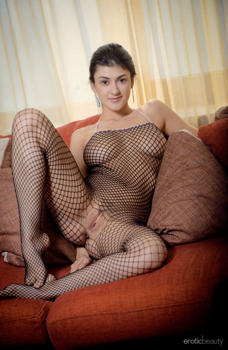 Busty Babe In Full Body Fishnet