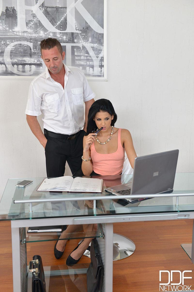 image Hairy office babe fucked by her black boss