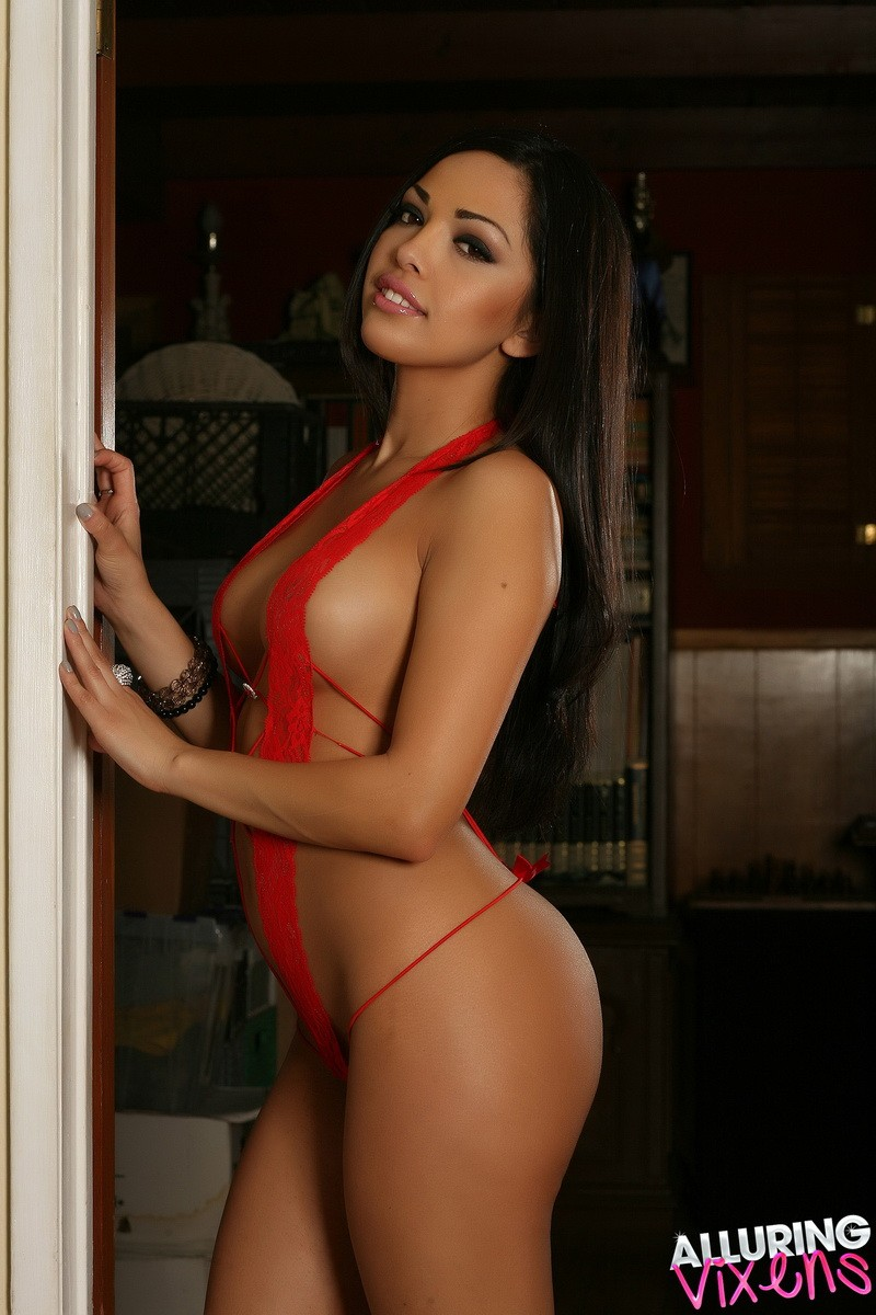 Alluring Vixen Karla In Red Lace Lingerie-6040