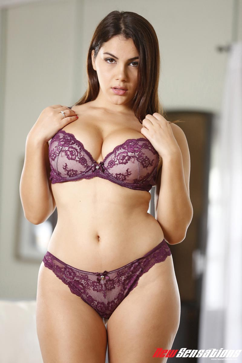 brunette purple lingerie