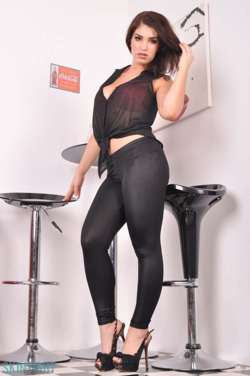 Latina in tight leather cat suit vtl 5