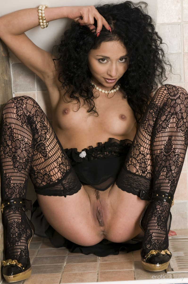 Lingerie Brunette With Curly Hair