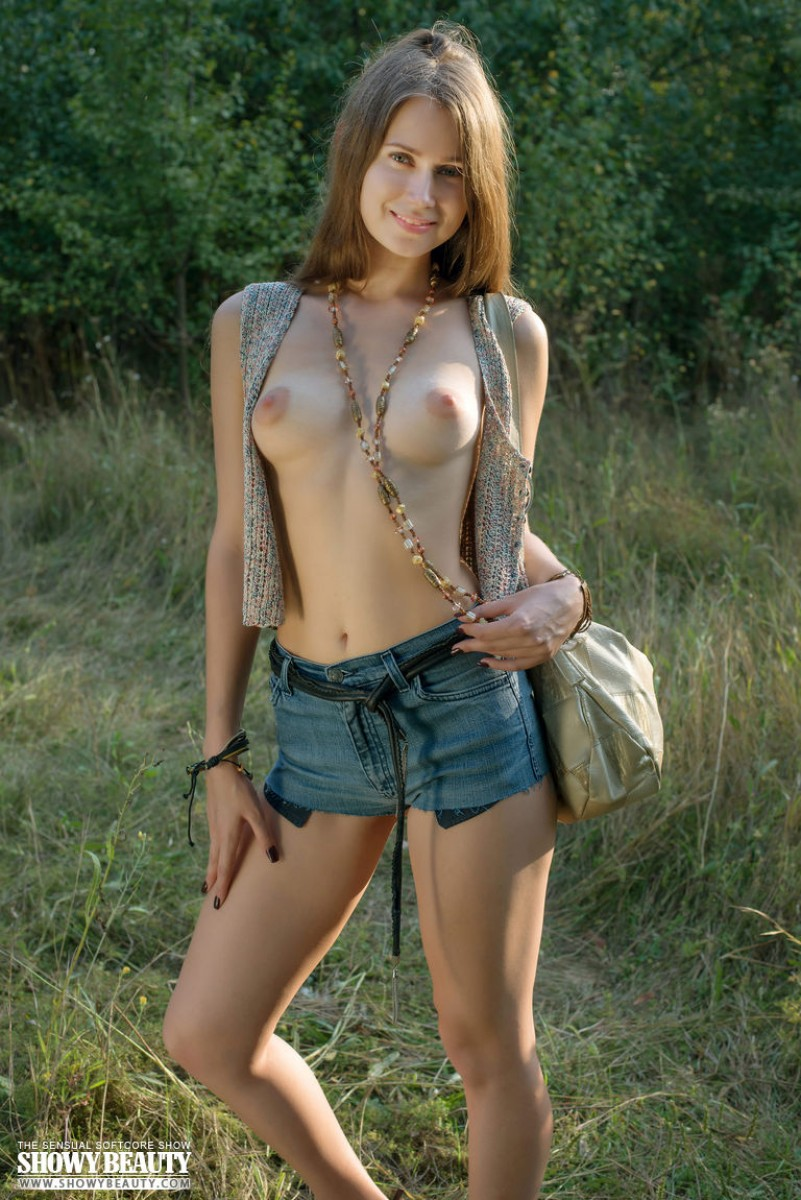 Cute Russian With Perky Tits Teasing Outside-3929