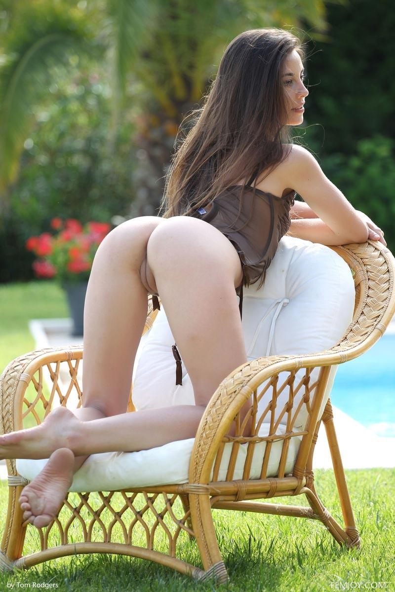 Lorena Garcia Strips By The Pool