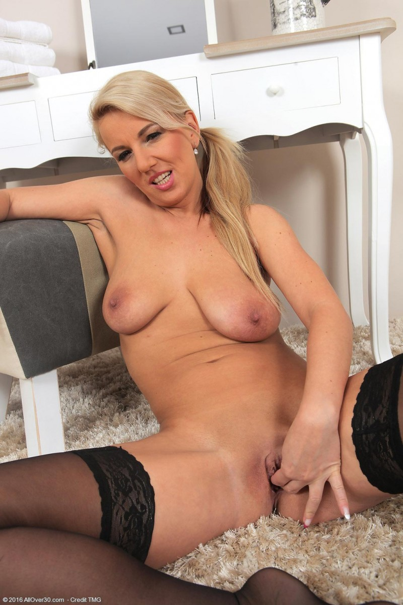 Hot blonde spreads her legs for two cocks