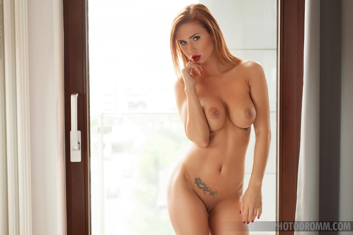 Redhead with perfect pierced titties solo cam 9