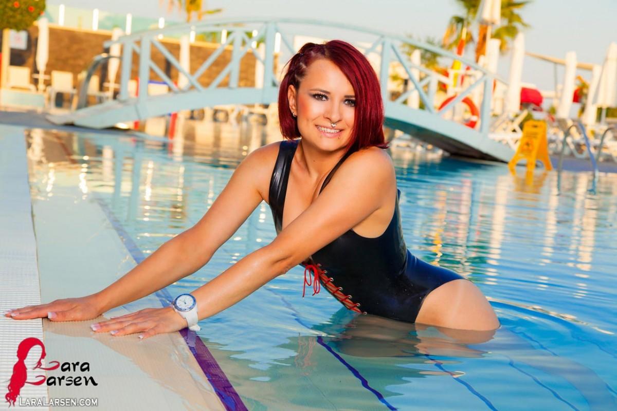 Lara Larsen Black Latex Swimsuit