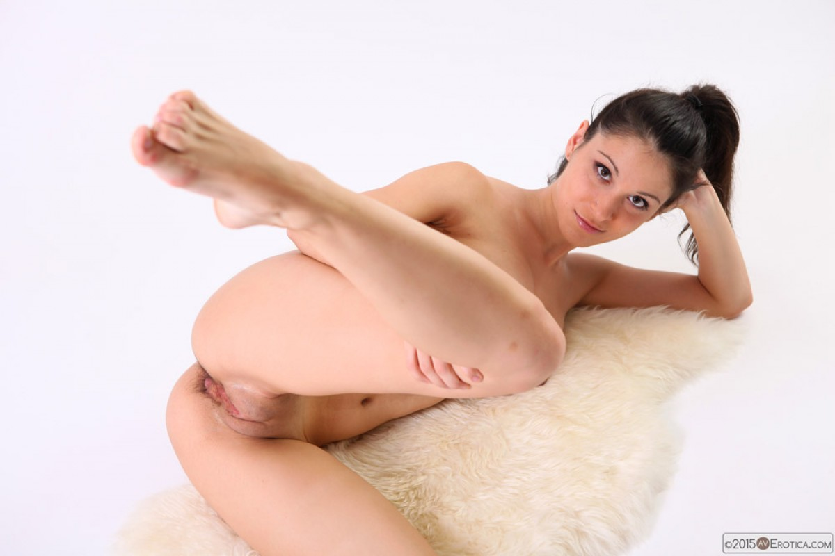 Naked Athletic Brunette in the Studio