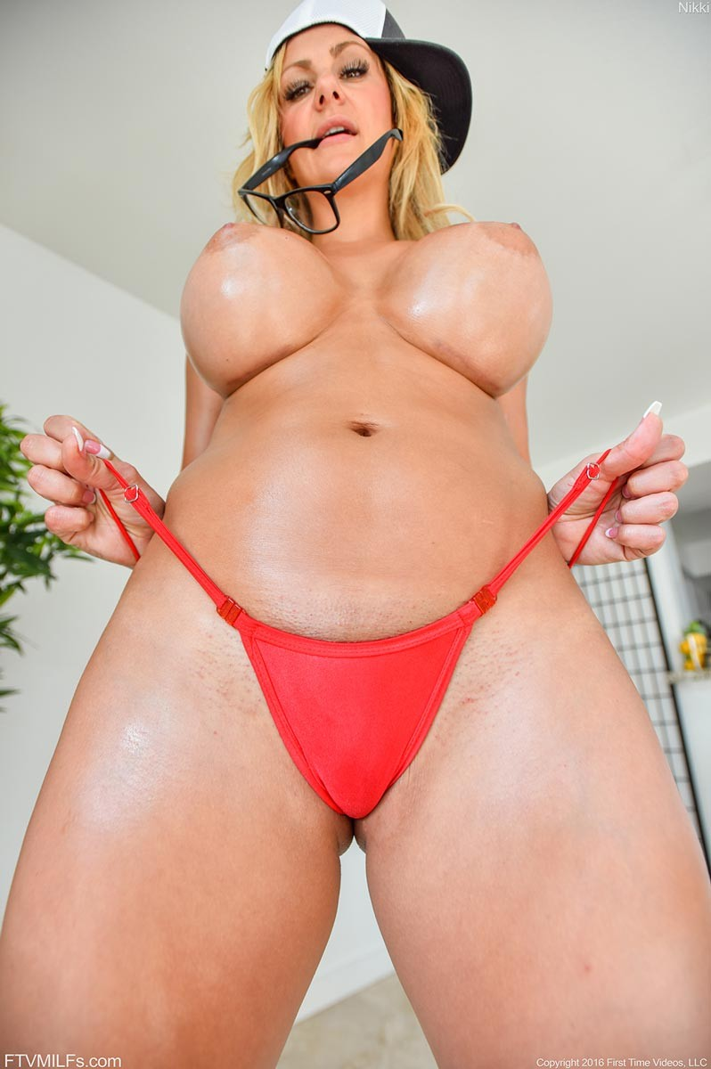 Busty Blonde Cougar In A G String-1381