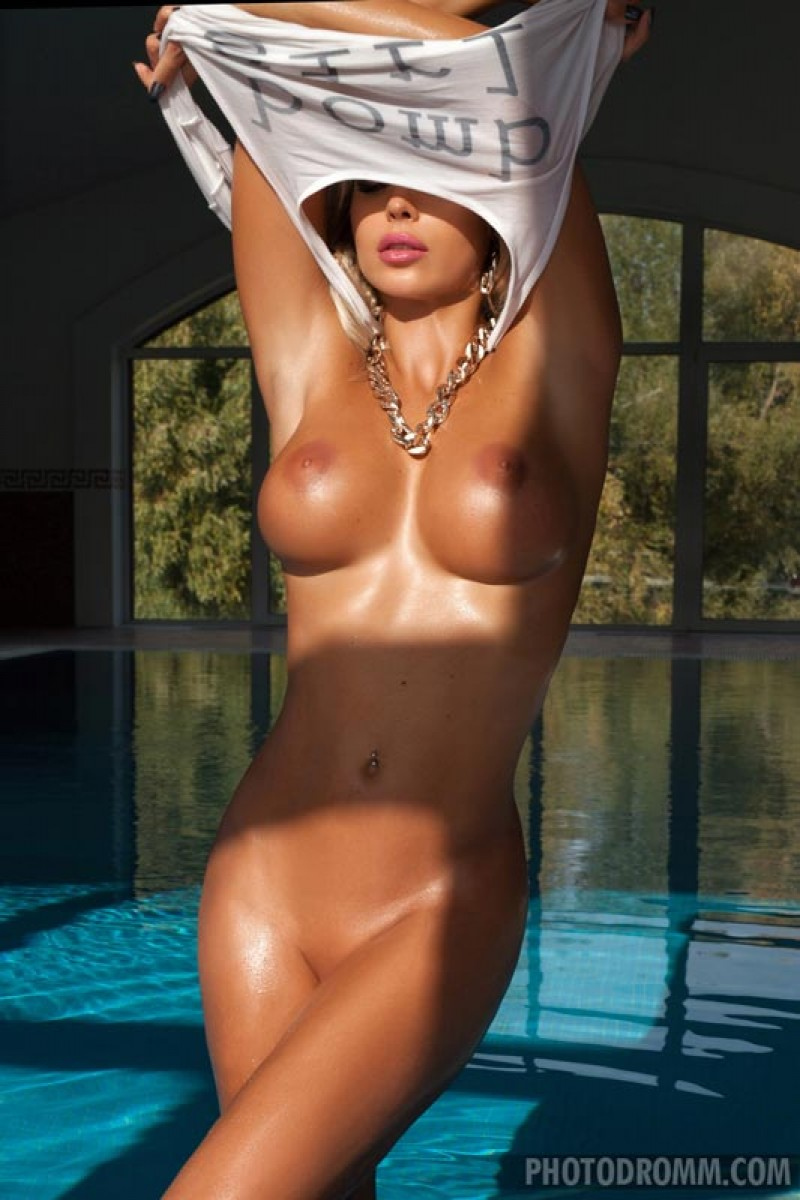 Busty Poolside Oiled Blonde With Hard Boobs-7703