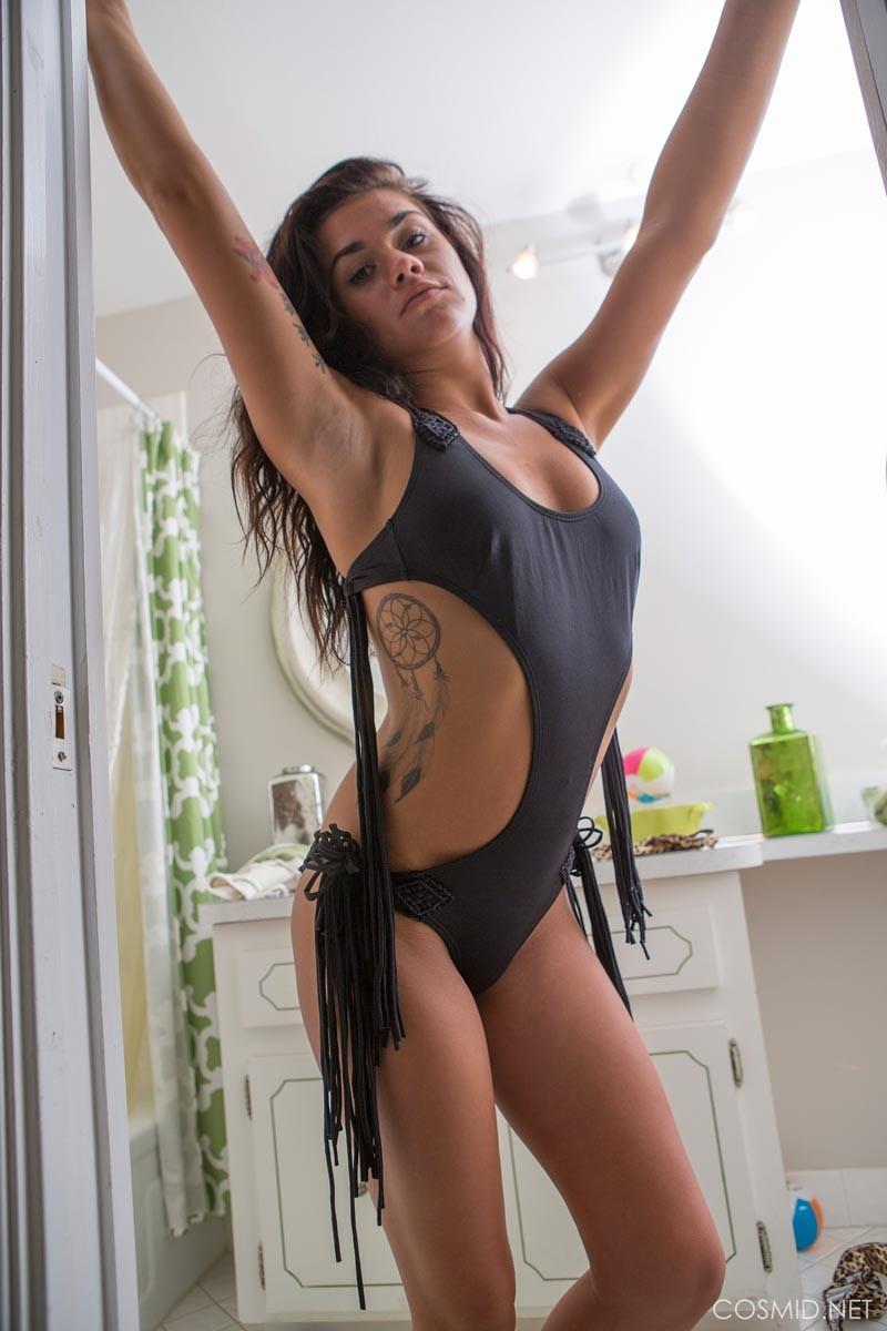Amateur brunette in stockings loves big dildo 6