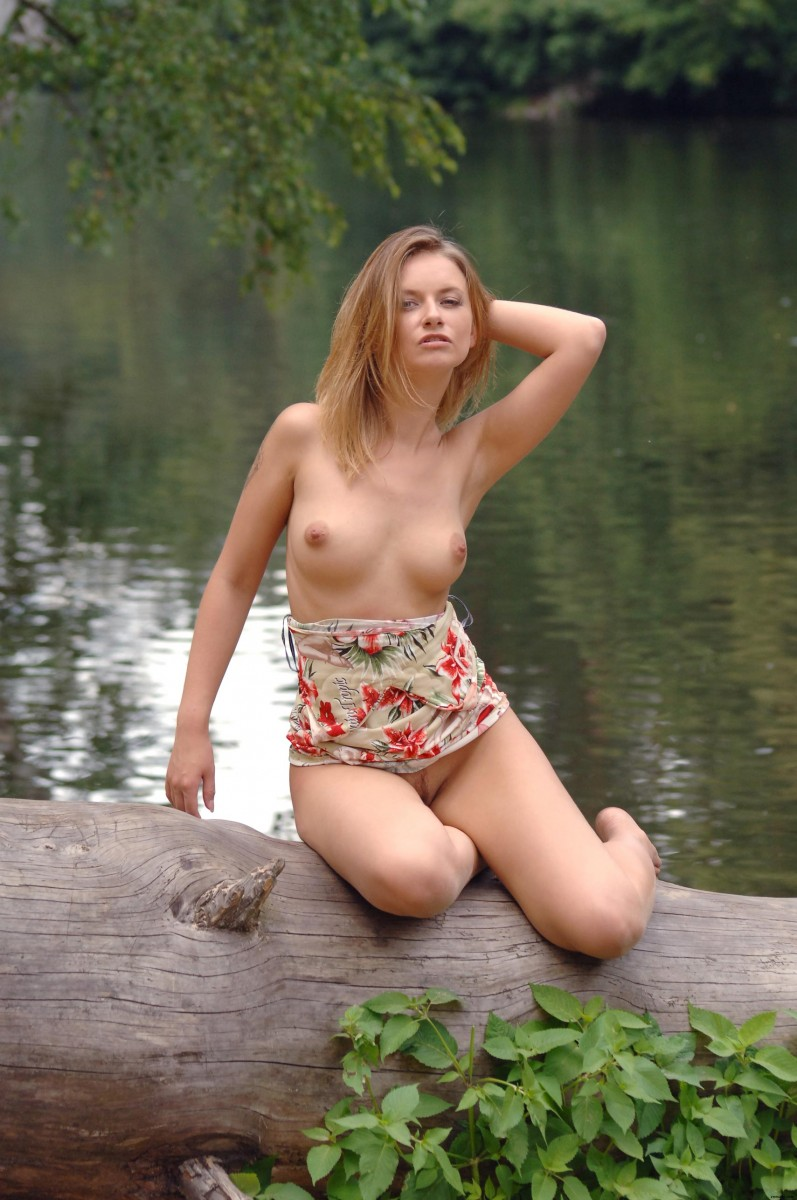 Nude Erotic Babe by the Lake