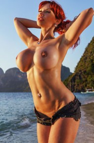 Bianca Beauchamp Topless in Jean Shorts