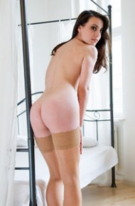 Lorena Garcia Spreads in Tan Stockings