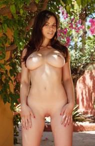 Busty Nekane Nude in the Backyard