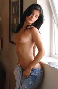 Topless Brunette in Jeans