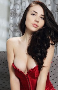 Busty Niemira in a Red Corset