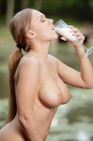 Katarina Muti Teasing With Milk