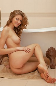 Maria Pie Strips Naked by the Bathtub