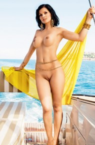 Ana Dravinec Nude on a Boat