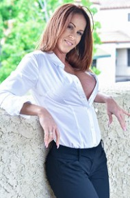 Busty Red Hot Milf in a White Shirt