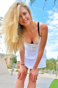 Cute Blonde Girl Flashing her Tits