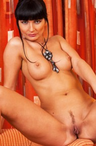 Leggy Fit Brunette with a Bald Pussy