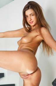 Melena Maria Strips Nude on Stairs