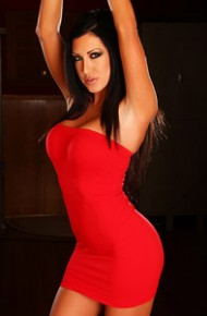 Sexy Lady in a Tight Red Dress