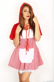 Sexy Lilly in a Little Red Riding Hood Costume