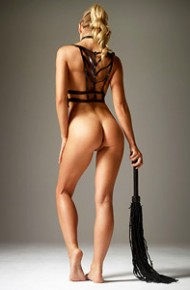 Toned Blonde Model with a Whip