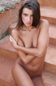 Leggy Melena Maria Naked on Stairs