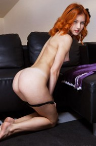 Naked Redhead with Tan Lines