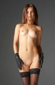 Nude Sweetie in Black Stockings
