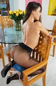 Lorena Garcia in Black Pantyhose