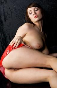 Perky Brunette Kate in a Bikini Top