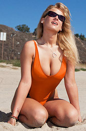 Alice Wonder In a Sexy Orange Swimsuit