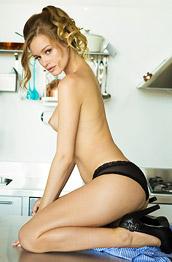 Olivia Preston Strips in the Kitchen