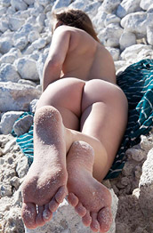 Simona A Naked on Rocks