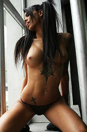 SunnyQ Inked Beauty in a Thong