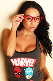 Jen Busty Exotic Babe with Red Glasses