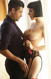 Olive Glass Lingerie Babe Stuffed with Cock