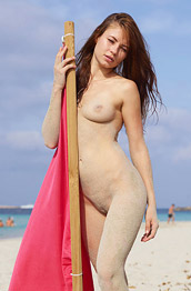 Jenna Naked by the Red Flag